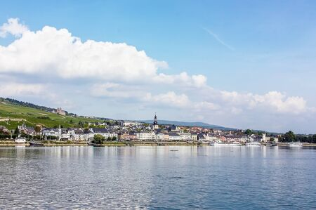 View from the Rhine to the town of Rudesheim, Germany Editorial