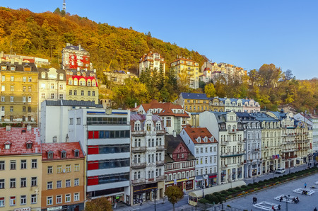 karlovy vary: Historic houses in city center of Karlovy Vary,Czech republic Editorial