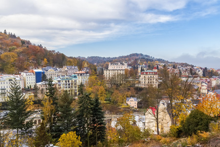 karlovy vary: Panorama of Karlovy Vary from a hill. Czech republic Stock Photo