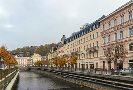 vary: embankment of Tepla river in Karlovy Vary,  Czech republic