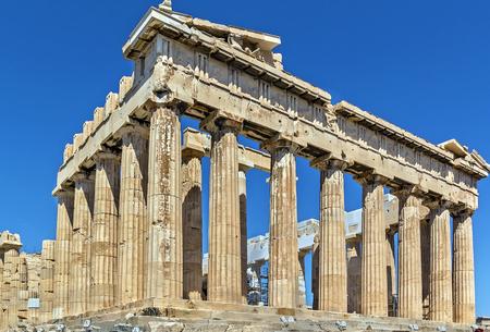 antigua grecia: El Partenón es un templo en la Acrópolis de Atenas, Grecia Foto de archivo