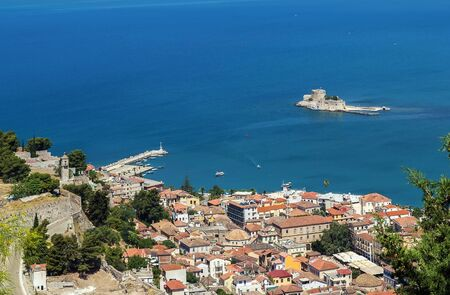 View of the old part of the city of Nafplio from Palamidi castle, Greece