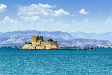 nafplio: The castle of Bourtzi is located in the middle of the harbour of Nafplio. The Venetians completed its fortification in 1473
