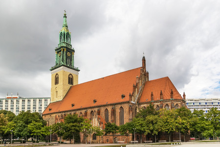 st german: St. Mary Church, known in German as the Marienkirche,  located in central Berlin, near Alexanderplatz.