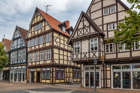 renovate old building facade: The street with historical half-timbered houses in the old city of Celle, Germany