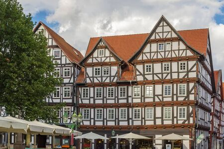 renovate old building facade: Historical half-timbered houses in downtown of Melsungen, Germany