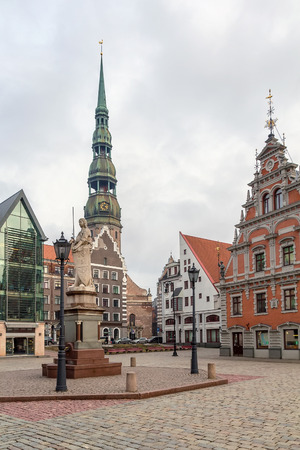 town hall square: Town Hall Square in Riga with Roland statue, Latvia Stock Photo