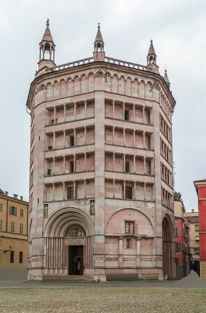 edifice: The Baptistery of Parma is a religious edifice in Parma, northern Italy. Architecturally, the baptistery of Parma Cathedral marks a transition between the Romanesque and Gothic styles