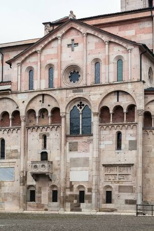 consecrated: Modena Cathedral is a Roman Catholic Romanesque church in Modena, Italy. Consecrated in 1184, it is an important Romanesque building in Europe and a World Heritage Site. Stock Photo