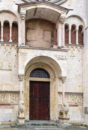consecrated: Portal. Modena Cathedral is a Roman Catholic Romanesque church in Modena, Italy. Consecrated in 1184, it is an important Romanesque building in Europe and a World Heritage Site.