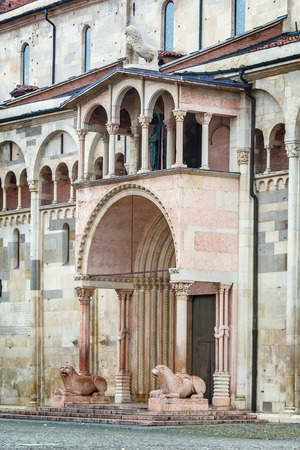 romanesque: Portal. Modena Cathedral is a Roman Catholic Romanesque church in Modena, Italy. Consecrated in 1184, it is an important Romanesque building in Europe and a World Heritage Site.