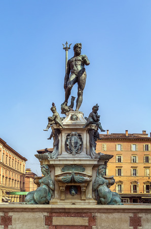 eponymous: The Fountain of Neptune is a monumental fountain located in the eponymous square, Piazza del Nettuno, next to Piazza Maggiore, in Bologna, Italy Stock Photo