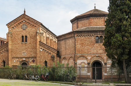 The basilica of Santo Stefano encompasses a complex of religious edifices in the city of Bologna, Italy. Church of the Holy Sepulchre and church of Saints Vitale and Agricola Stock Photo