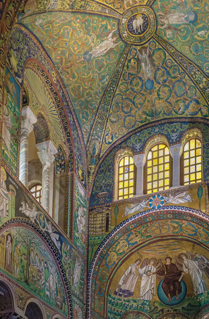 The Basilica of San Vitale is a church in Ravenna, and one of the most important examples of early Christian Byzantine art and architecture. Vault in the presbytery is richly ornamented with mosaic