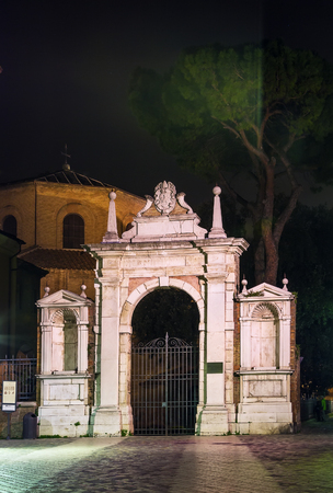 ravenna: Gates to the territory of Basilica of San Vitale in evening, Ravenna, Italy