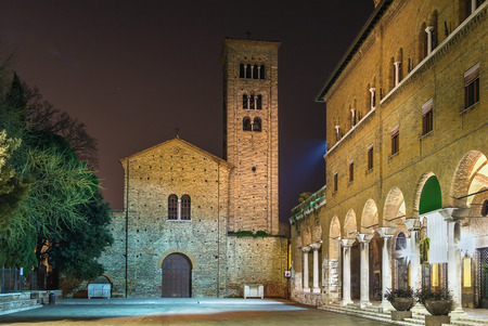 aisles: Evening. The St. Francis basilica, rebuilt in the 10th – 11th centuries over a precedent edifice dedicated to the Apostles. Behind the humble brick facade, it has a nave and two aisles.