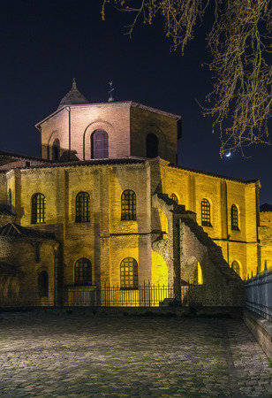 architectural lighting design: Evening. The Basilica of San Vitale is a church in Ravenna, Italy, and one of the most important examples of early Christian Byzantine art and architecture in western Europe. Stock Photo