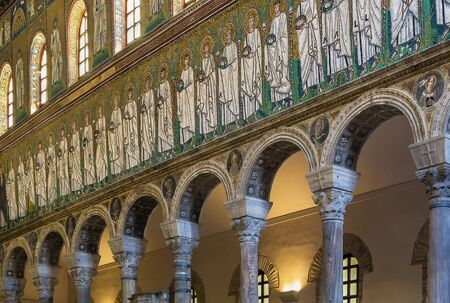 ravenna: Mosaics on the side of the nave in Basilica of Sant Apollinare Nuovo, Ravenna. Italy Editorial