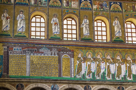 nave: Mosaics on the side of the nave in Basilica of Sant Apollinare Nuovo, Ravenna. Italy Editorial