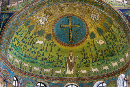 ravenna: The Basilica of Sant Apollinare in Classe is an important monument of Byzantine art near Ravenna, Italy. The apse is decorated with mosaics. Editorial