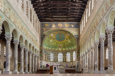 ravenna: The Basilica of Sant Apollinare in Classe is an important monument of Byzantine art near Ravenna, Italy. Interior of basilica