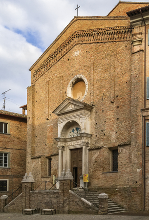 urbino: Church of St Dominic is located in the city center opposite the cathedral Urbino, Italy