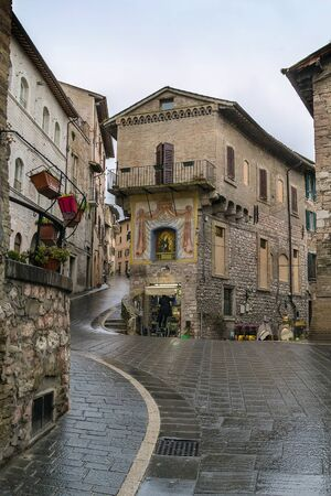 assisi: street in Assisi historic center, Italy