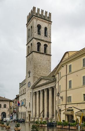 minerva: Temple of Minerva in the Piazza del Comune, Assisi, Italy