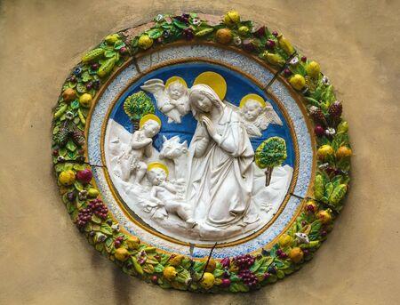 montepulciano: Maiolica relief in Montepulciano city, Italy