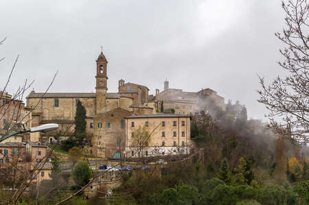 View of Montepulciano in rainy weather, Italy photo