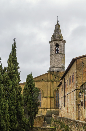 Bell tower of cathedral of Pienza, Italy photo