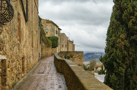 The Southern Walls of Pienza with houses, Italy photo
