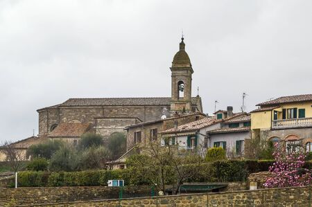 montalcino: View of Montalcino with historical church, Italy Stock Photo