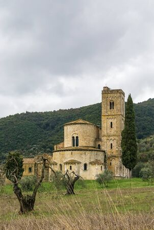 The Abbey of Sant Antimo is a former Benedictine monastery in the comune of Montalcino, Tuscany. photo