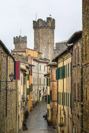 montalcino: Street in historical center of Montalcino, Italy