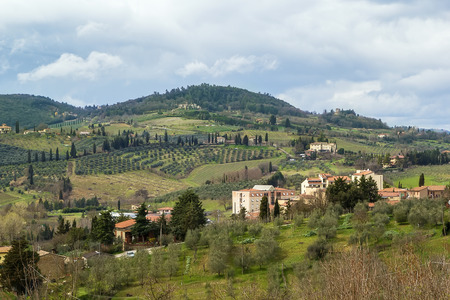 landscape around  city of San Gimignano, Italy