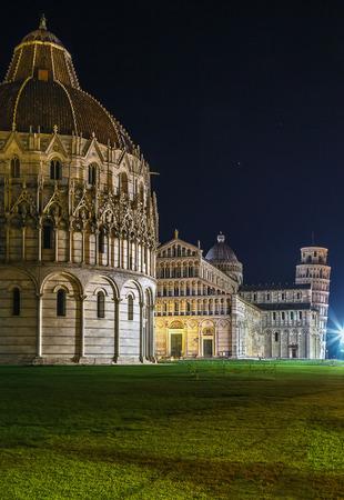 piazza dei miracoli: view of Piazza dei Miracoli in Pisa in evening, Italy Stock Photo