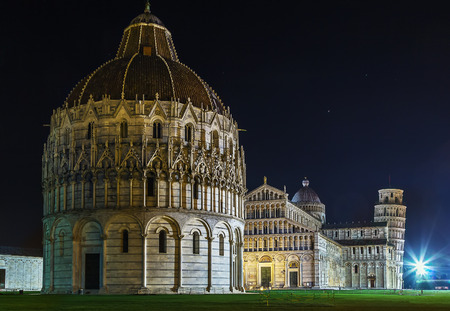 miracoli: view of Piazza dei Miracoli in Pisa in evening, Italy Stock Photo