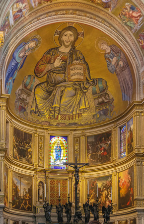 pantocrator: interior of Pisa cathedral with mosaic apse, Italy Editorial