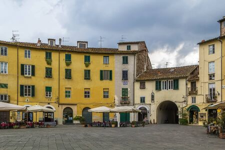 famous place: Former a Roman anphitheater, now Piazza Anfiteatro is one of the most famous place in Lucca, Italy