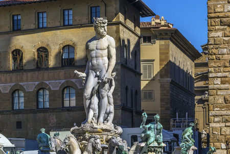 signoria square: The Fountain of Neptune is a fountain in Florence, Italy, situated on the Piazza della Signoria (Signoria square), in front of the Palazzo Vecchio. The fountain was commissioned in 1565 and is the work of the sculptor Bartolomeo Ammannati. Editorial