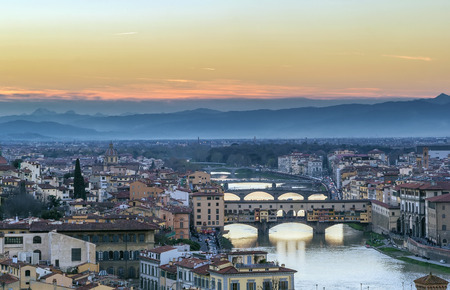 old bridge: view of Florence with Ponte Vecchio in evening from Michelangelo hill, Italy Stock Photo