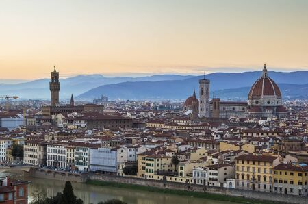michelangelo: view of Florence in evening from Michelangelo hill., Italy