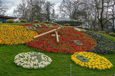 flower clock in Geneva near the waterfront of Lake Geneva, Switzerland Stok Fotoğraf