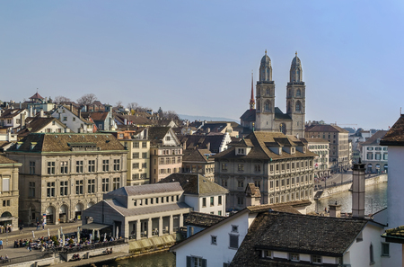 grossmunster cathedral: view of Zurich with Grossmunster church from the Lindenhof hill, Switzerland