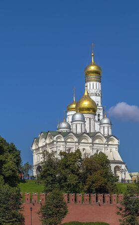 archangel: The Cathedral of the Archangel is a Russian Orthodox church dedicated to the Archangel Michael. view from Moscow river