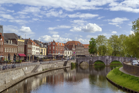 meuse: view of Meuse river with bridge in Roermond,Netherlands