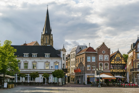 view of Sittard market square with historic houses, Netherlands