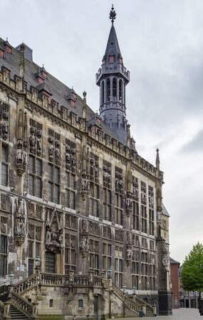altstadt: The Gothic Aachen Rathaus, or Aachen City Hall, lies next to the Aachen Cathedral and is one of the most striking structures in the Altstadt of Aachen, Germany. Editorial