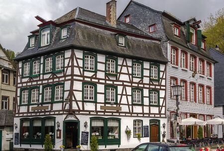 mediaeval: view of historic houses in Monschau city center, Germany